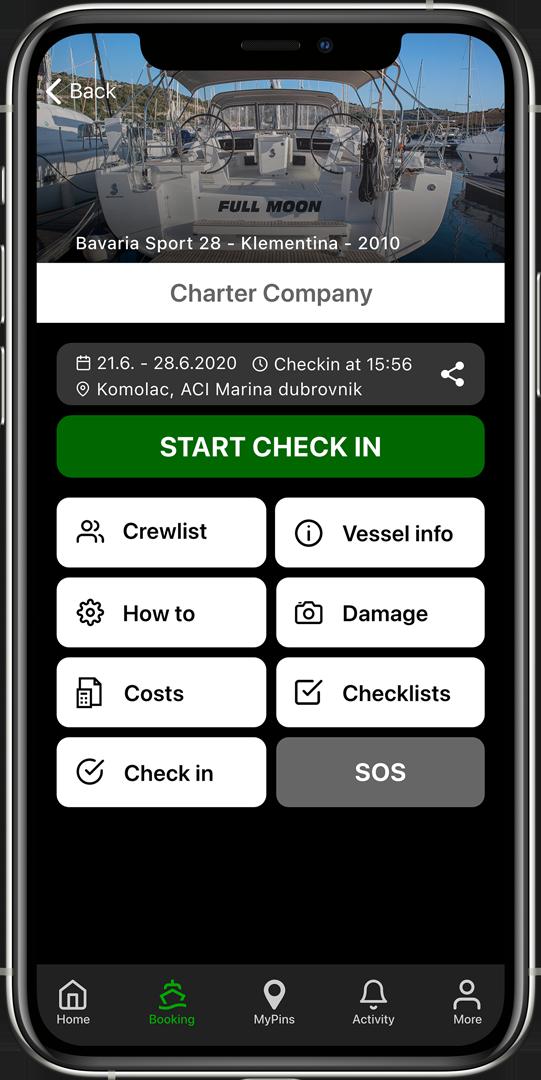 charter client app booking screen